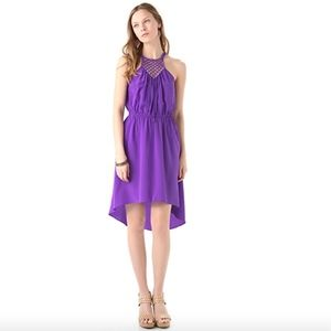 Rebecca Taylor Purple Silk Macrame Cami Dress
